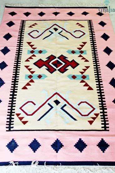 Oriental Egyptian Pink Kilim Rug