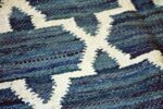 Indian Cotton Blue and White Diamond Rug